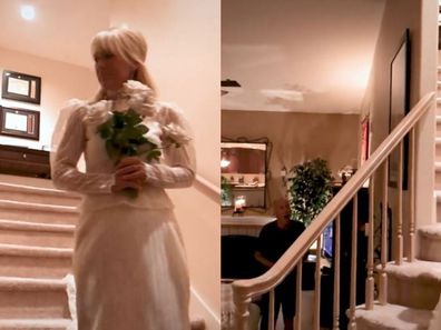 Pat Trenkle surprised her husband after quarantining by descending the staircase in her wedding gown.