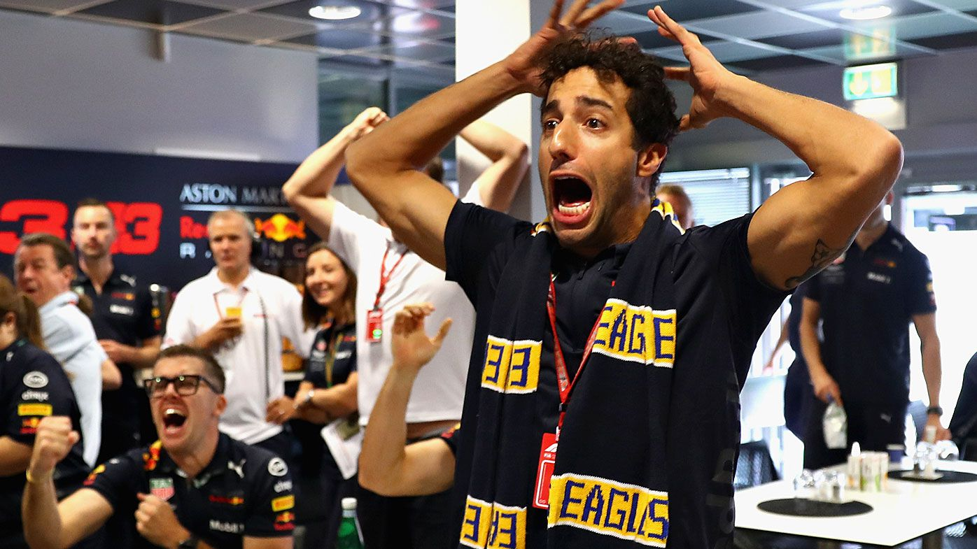 Daniel Ricciardo celebrates the Eagles winning the AFL grand final