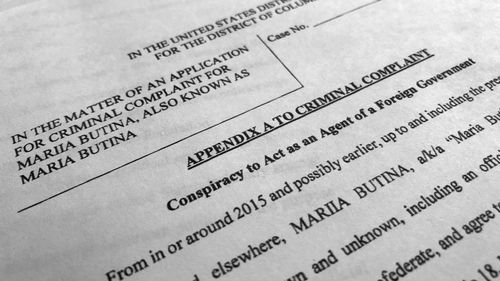 Court papers unsealed Monday, July 16, 2018, photographed in Washington, shows part of the criminal complaint against Maria Butina. (AAP)