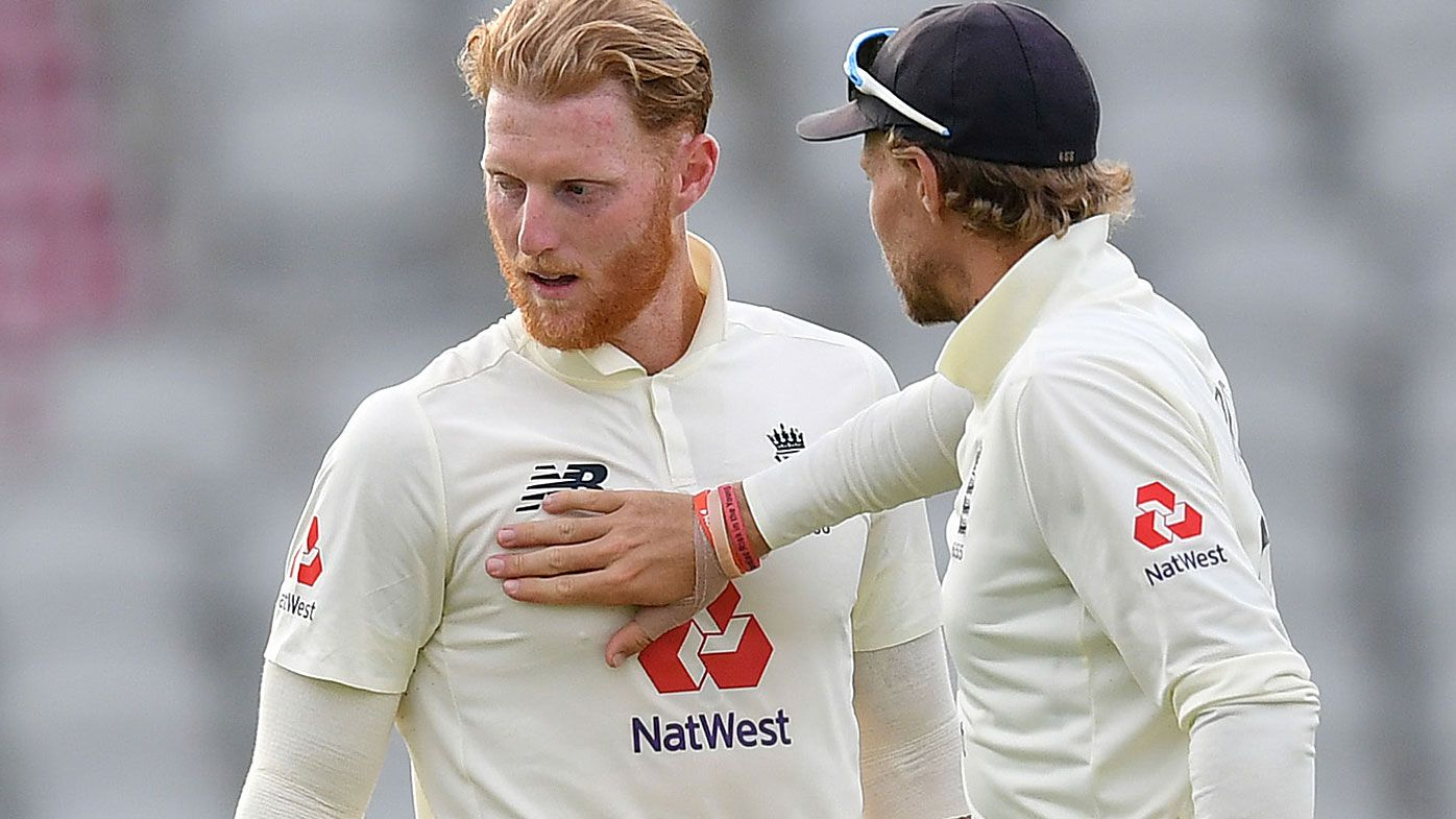 Joe Root of England congratulates Ben Stokes