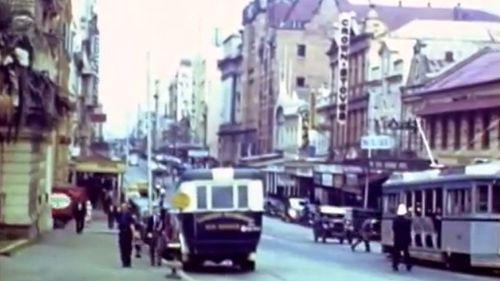 BRISBANE: Peak hour traffic, 1940s style