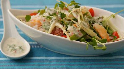"Click through for our velvety <a href=""http://kitchen.nine.com.au/2016/12/13/13/20/crab-and-green-mango-salad"" target=""_top"">crab and green mango salad</a> recipe"