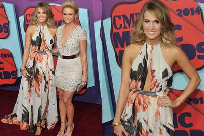 Busting out!<br/><br/>Carrie Underwood and Miranda Lambert glow on the CMT red carpet.