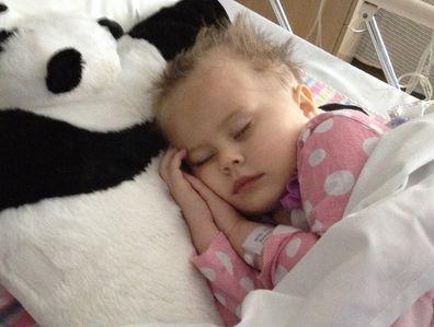 Jade asleep in hospital