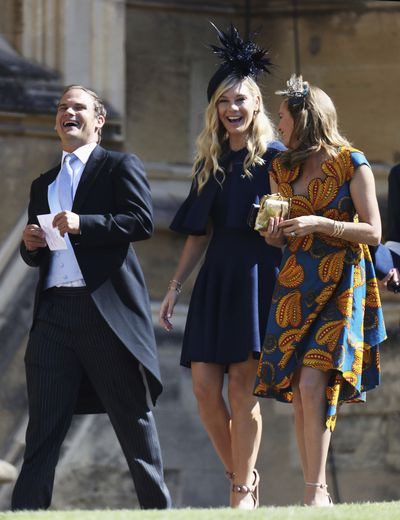 <strong>Photo of Chelsy Davy</strong>, Prince Harry's ex girlfriend in a navy mini dress at the Royal wedding