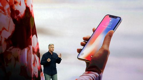 Phil Schiller, Apple's senior vice president of worldwide marketing, announces features of the new iPhone X. (AAP)