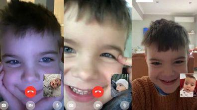 Nikolina. Cousins and nephew FaceTime