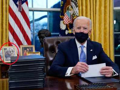 President Joe Biden has a photo of his late son Beau Biden near him in the Oval Office of the White House