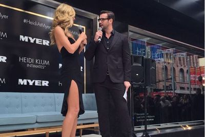 """@myer: """"The very dapper @krissmith13 chats with the beautiful @heidiklum about all things @heidiklumintimates! #myermelbourne #heidiklumintimates"""""""