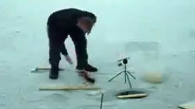 <p>A Russian fish with a never say die attitude has got one back at an ice fisherman for its entire species.</p> <p>Footage of the incident shows the angler reel in a large fish but after being unable to extract the hook from its mouth places it on the ice and walks out of shot - presumably to get some kind of tool to help him.</p> <p>With the man gone the cunning fish makes its move, flailing around until it dives back into the water.</p> <p>But with the fish still attached to the rod its bid for freedom isn't yet over.</p> <p>Summoning all its strength the resilient creature swims away from the opening in the ice, pulling the rod from the stand it rests on.</p> <p>The stunned fisherman then returns to shot and races back to save his rod only to see the pole disappear into the icy water along with his catch.</p> <p>Click through to see more videos of animals that refused to give up.</p>