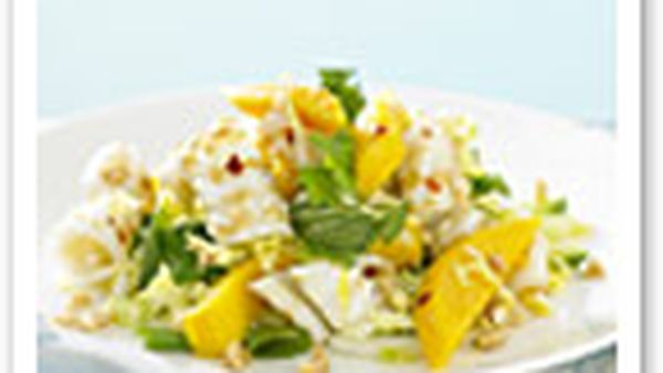 Grilled calamari with mango, coriander, mint and peanuts