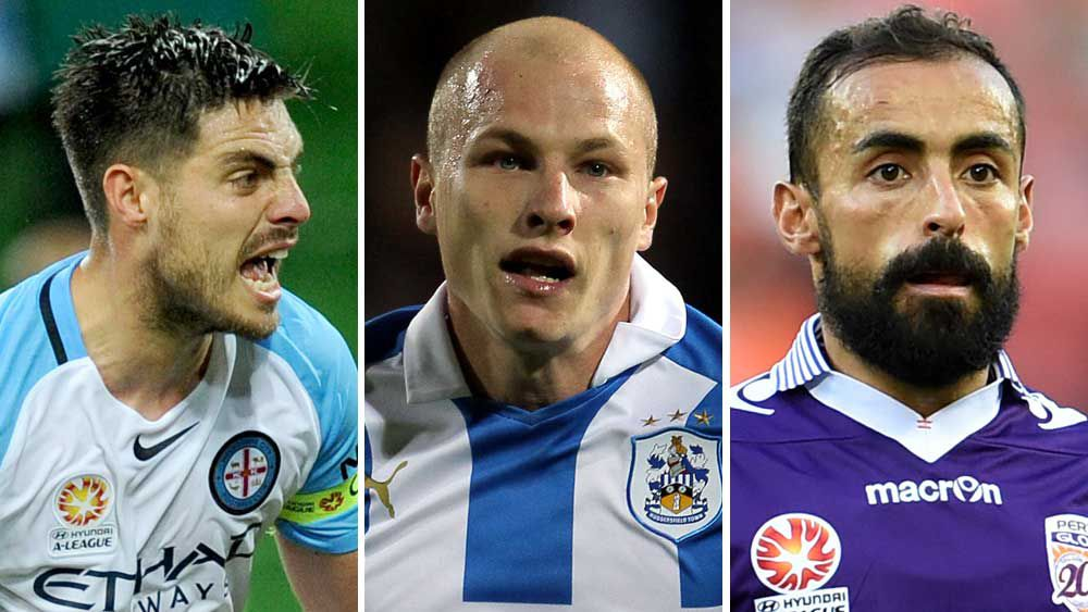Bruno Fornaroli, Aaron Mooy and Diego Castro. (AAP)