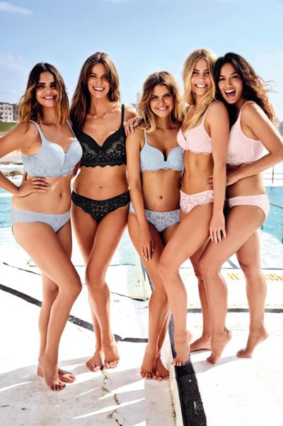 Elle Furguson, Samantha Harris, Bianca Cheah, Elyse Knowels and Robyn Lawley modelling the Body Bliss by Bras N Things collection