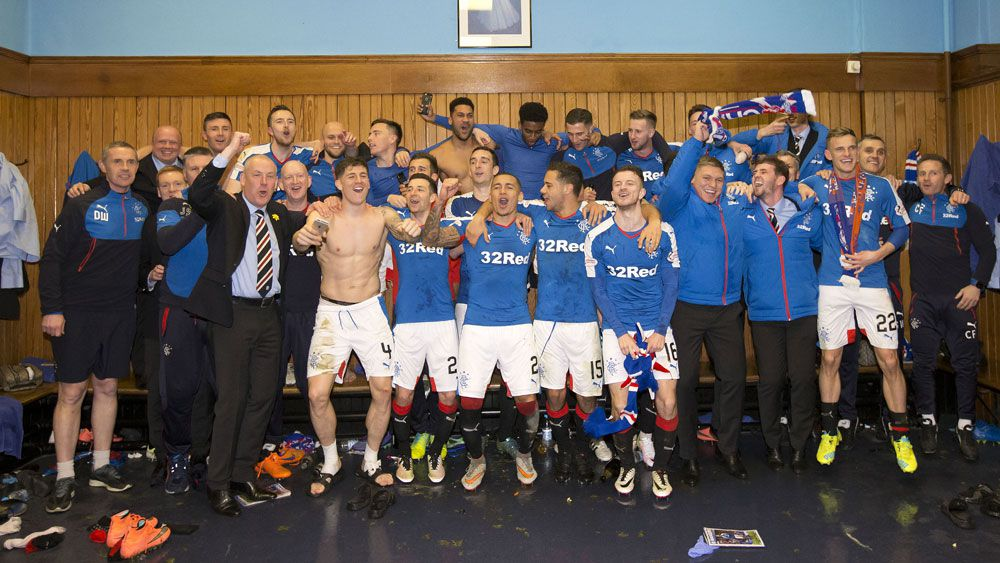 The Rangers squad celebrates promotion. (AAP)