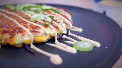 Japanese style okonomiyaki pancake fritter is an easy way to use up veggies