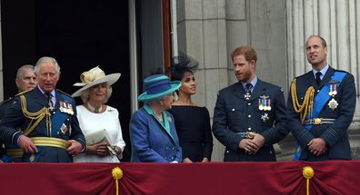 Harry and Meghan with Camilla and Kate on balcony