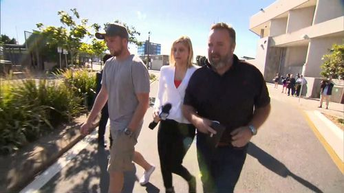 Two male friends and a female were in court to support the embattled suspended mayor. Picture: 9NEWS