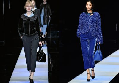The fabric found its way onto boxy jackets and cropped pants at Giorgio Armani.