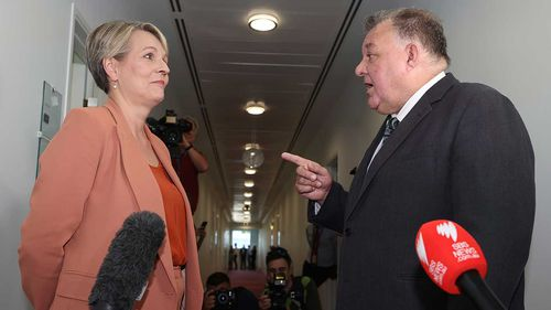 Tanya Plibersek and Craig Kelly faced off outside the Channel 9 studio in Parliament House.