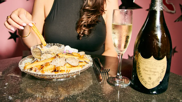 The world's most expensive fries are blanched in Champagne and topped with gold dust