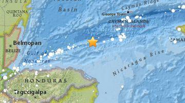 The earthquake struck off the coast of Honduras. (USGS)