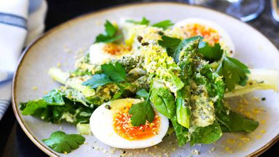 "Recipe: <a href=""http://kitchen.nine.com.au/2017/09/18/17/17/chiswick-asparagus-and-cos-salad-with-bottarga-and-soft-egg"" target=""_top"">Chiswick's asparagus and cos salad with bottarga and soft egg</a>"