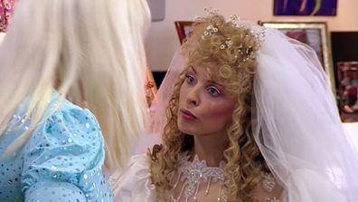 Kylie Minogue as a very special family member on Kath & Kim.