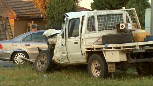 The ute driver has been taken to hospital with critical injuries.