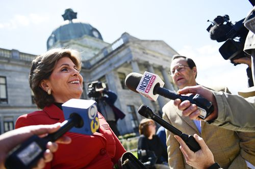 Attorney Gloria Allred talks with members of the media during a lunch break in the Bill Cosby sexual assault trial at the Montgomery County Courthouse.