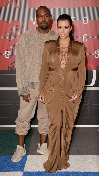 <p>Kanye West and Kim Kardashian</p>