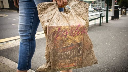 A plastic bag subermerged in soil for three years was shown to still be able to hold shopping (University of Plymouth)