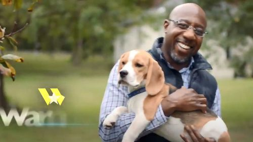 How Raphael Warnock appears in his own campaign ads.