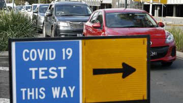 Long lines of cars wait for up to two hours at Highpoint Shopping Centre for a COVID-19 test in Melbourne.