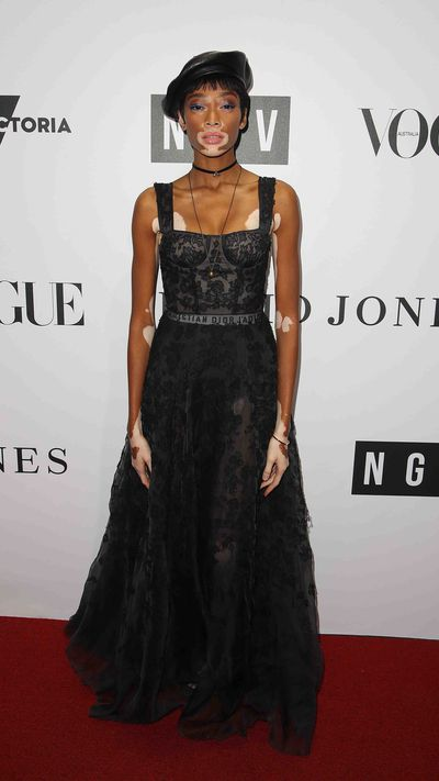 Winnie Harlow in Christian Dioron the red carpet at the National Gallery of Victoria for the opening of the Dior exhibition.