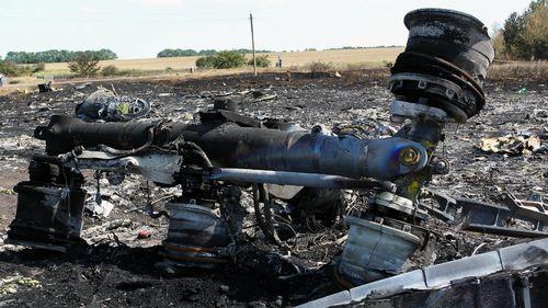 Debris of Flight MH17 at the Ukrainian crash site.