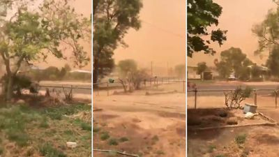 Apocalyptic dust storm turns town an eerie orange