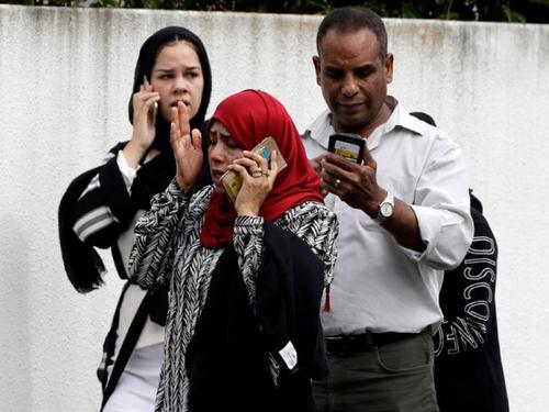 Parents outside mosque Christchurch