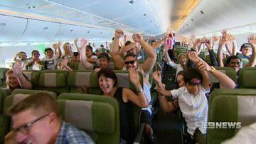 VIDEO: Kids treated to fun on a 747 jumbo jet