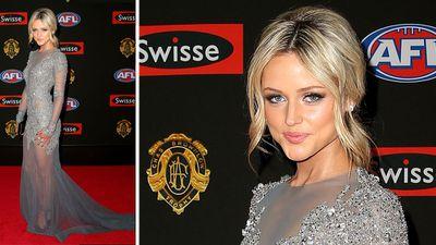 Jessie Habermann, girlfriend of Carlton's Marc Murphy, wowed in her sheer dress. (Getty)