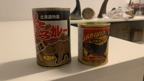 Tins labelled as containing bear and whale meat.