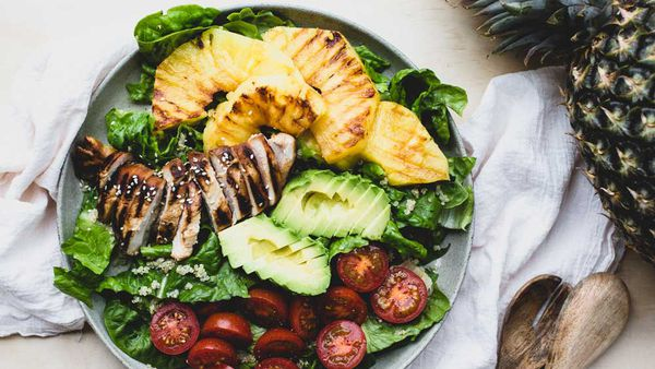 Teriyaki chicken and grilled pineapple salad