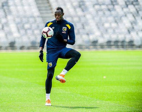 A week into his A-League experience, Bolt looks comfortable on a football pitch.