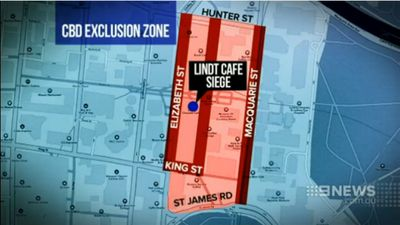 A map shows the exclusion zone around Martin Place in Sydney's CBD. (9NEWS)