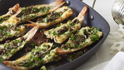 """Another fine example of seafood as a perfect centrepiece for a fuss free romantic meal - <a href=""""http://kitchen.nine.com.au/2016/05/05/13/54/grilled-split-prawns-with-parsley-lemon-and-olive-salsa"""" target=""""_top"""">grilled split prawns with parsley, lemon and olive salsa</a> recipe"""