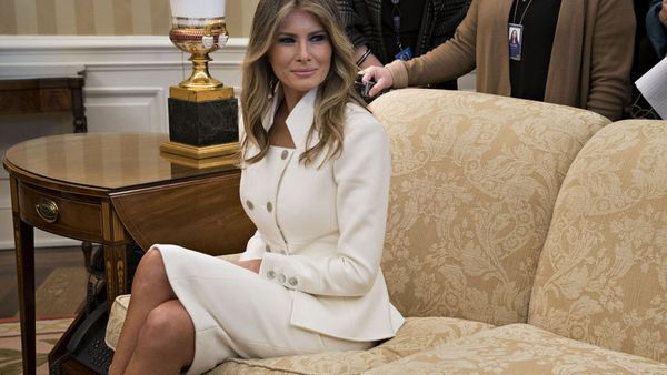 Melania stunned in a Karl Lagerfeld skirt suit. Image: Getty.