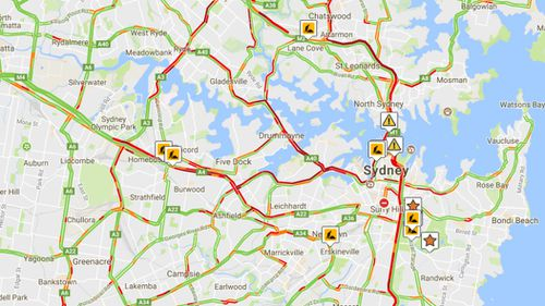Sydney roads were in gridlock this morning following the closure of four lanes on the Sydney Harbour Bridge (9:45am, Live Traffic NSW)