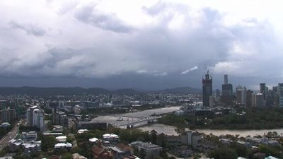 The Brisbane skycam captured storm clouds rolling in. (9NEWS)