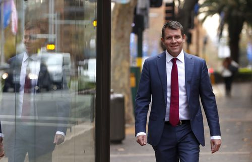 Mike Baird arrives to the NSW Parliament building to give evidence today. Picture: AAP