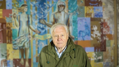 Sir Attenborough is pictured in Chernobyl while filming.