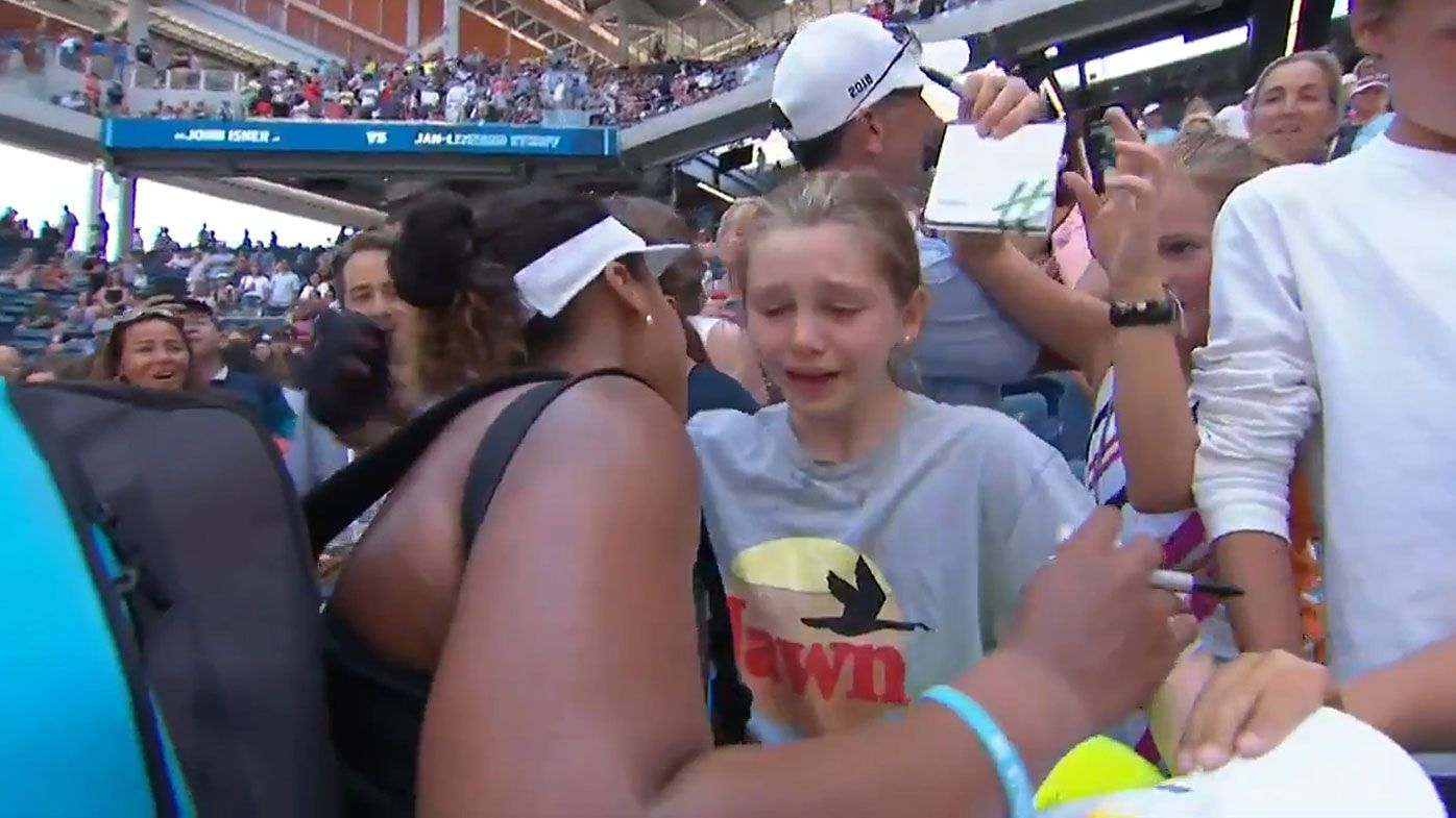 Osaka meets a young fan